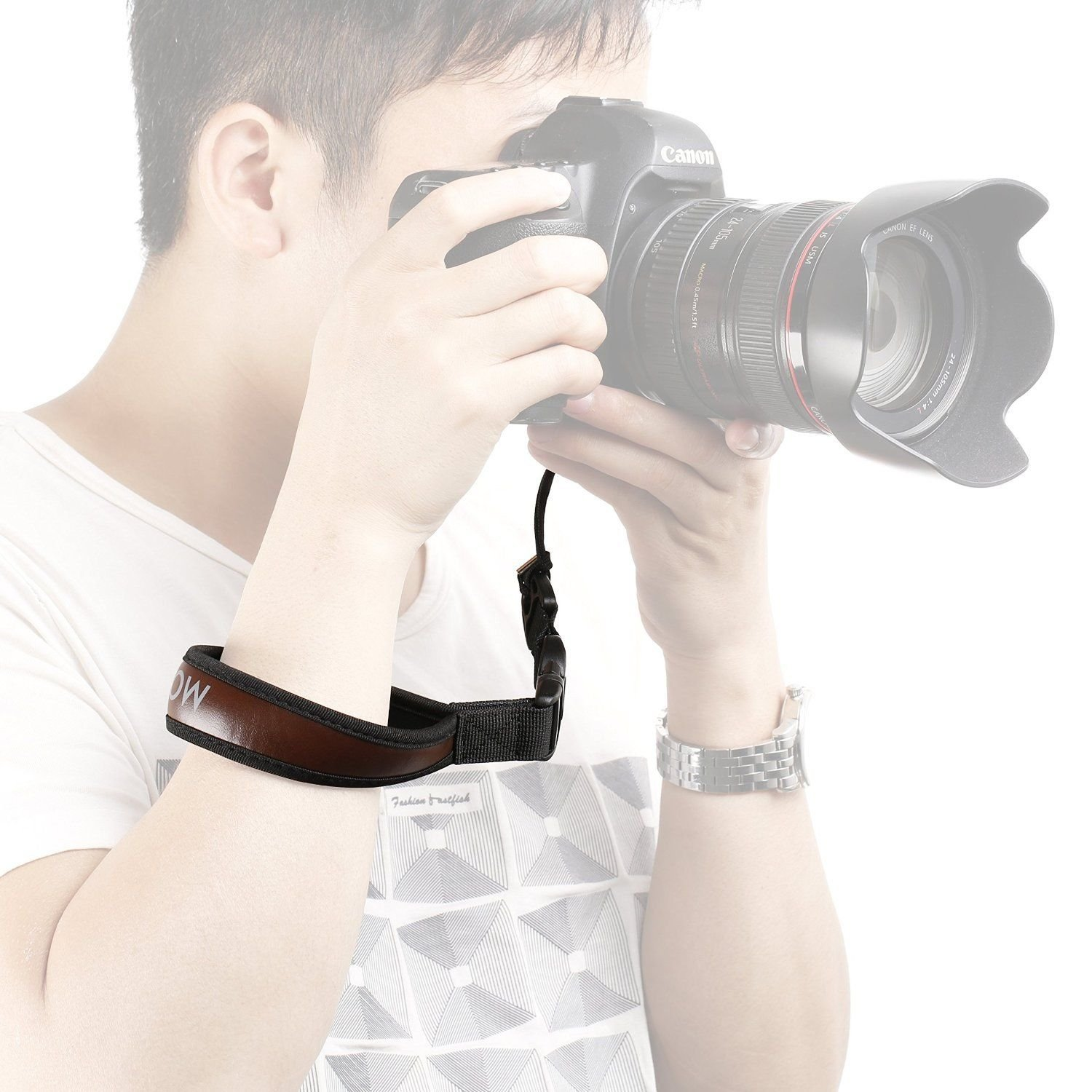 Movo Photo NS-6 Neoprene Camera Wrist Strap with Quick-Action Release Clip (Attaches Securely via Tripod Mount) - for Canon EOS, Nikon, Sony, Olympus, Pentax & Panasonic DSLR & Mirrorless Cameras