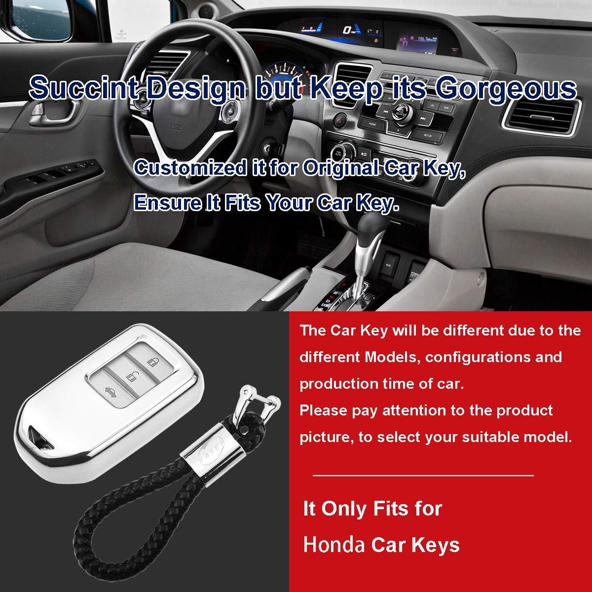 Kaser Soft TPU 3 4 5 Buttons Smart Car Remote Key Fob Cover Case Holder Shell Protector for Honda Accord Civic Jade Crider Odyseey CR-V Pilot Fit Greiz Elysion Vezel HR-V Spirior SLV