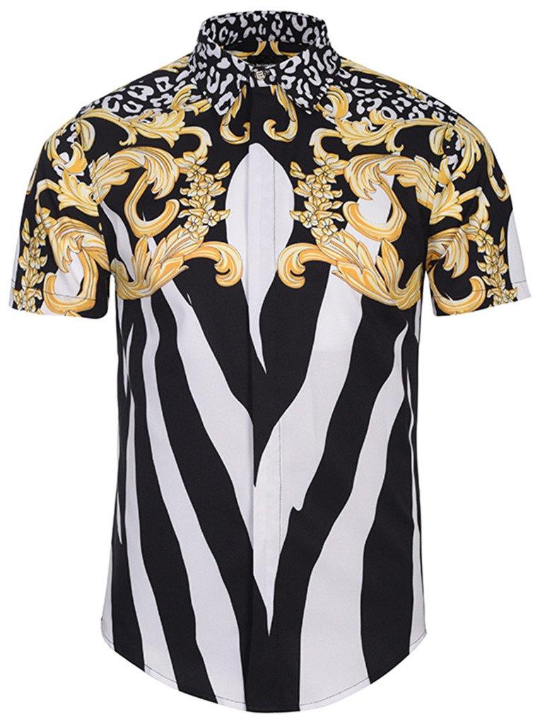Pizoff Men's Luxury Short Sleeve Floral Print Button Down Dress Shirt Y1782-04-L