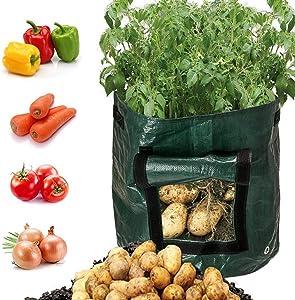 ETDWA DIY Potato Tomato Grow Planter PE Cloth Planting Container Bag Vegetable Gardening Thicken Garden Pot Planting Grow Bag,5PCS
