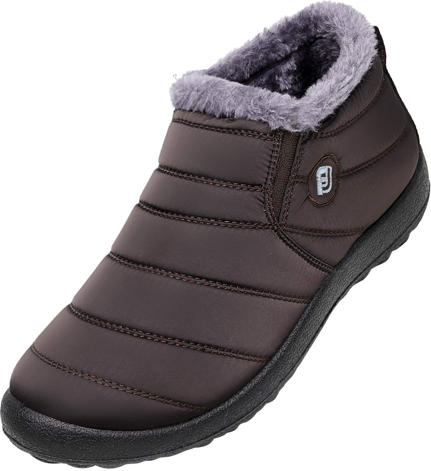 JOINFREE Womens Anti-Slip Winter Outdoor Slippers Fur Lined Ankle Booties Brown 7.5 B(M) US