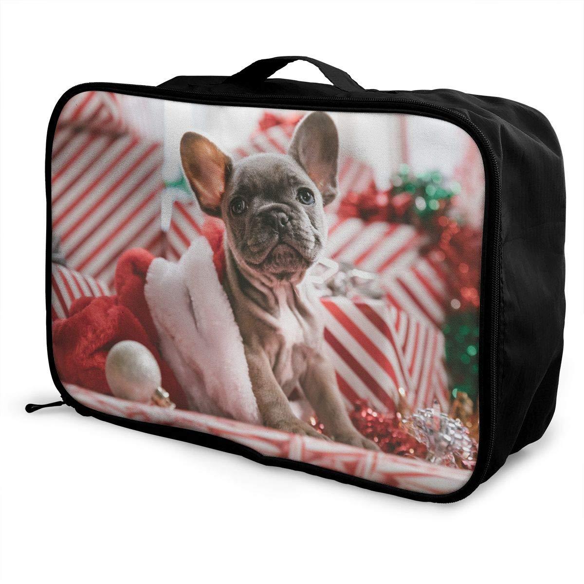 ADGAI Christmas Dog Canvas Travel Weekender Bag,Fashion Custom Lightweight Large Capacity Portable Luggage Bag,Suitcase Trolley Bag