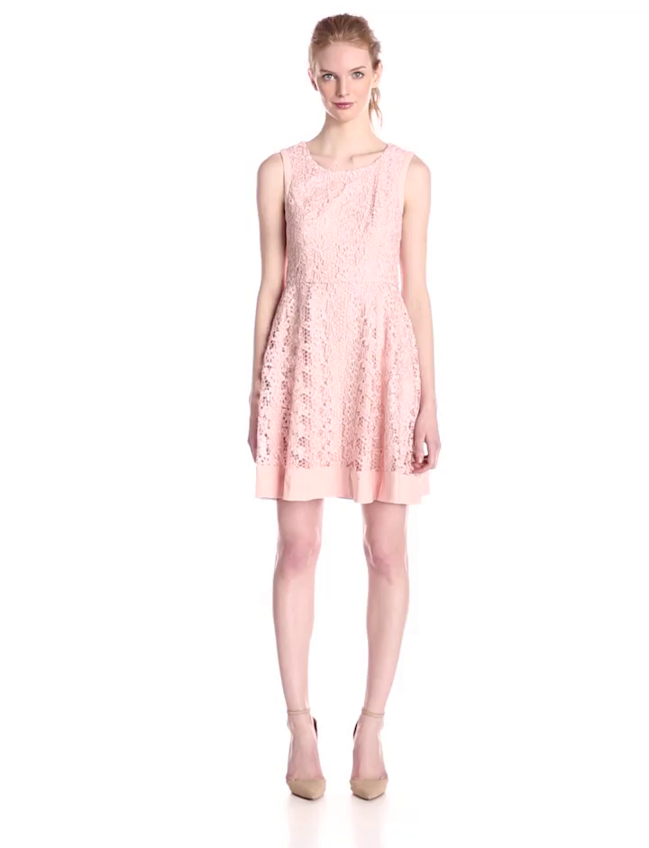 Jessica Simpson Women's Lace Fit and Flare Dress, Pale Pink, 14