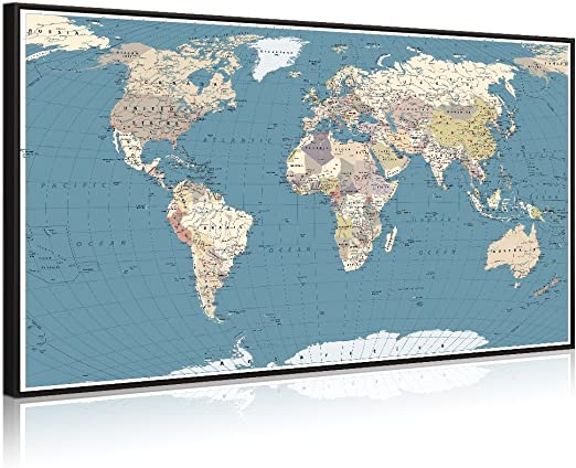 Welmeco Large Office Wall Decoration Detailed World Map Canvas Prints on