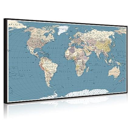 Large World Map Amazon.Amazon Com Welmeco Large Office Wall Decoration Detailed World Map