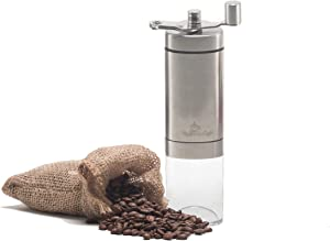 Maranello Caffé Manual Coffee Grinder, Adjustable Grind Conical Burr Coffee Grinder for French Press, Espresso, Turkish & Cold Brew, Stainless Steel Portable Coffee Bean Grinder for Camping & Travel