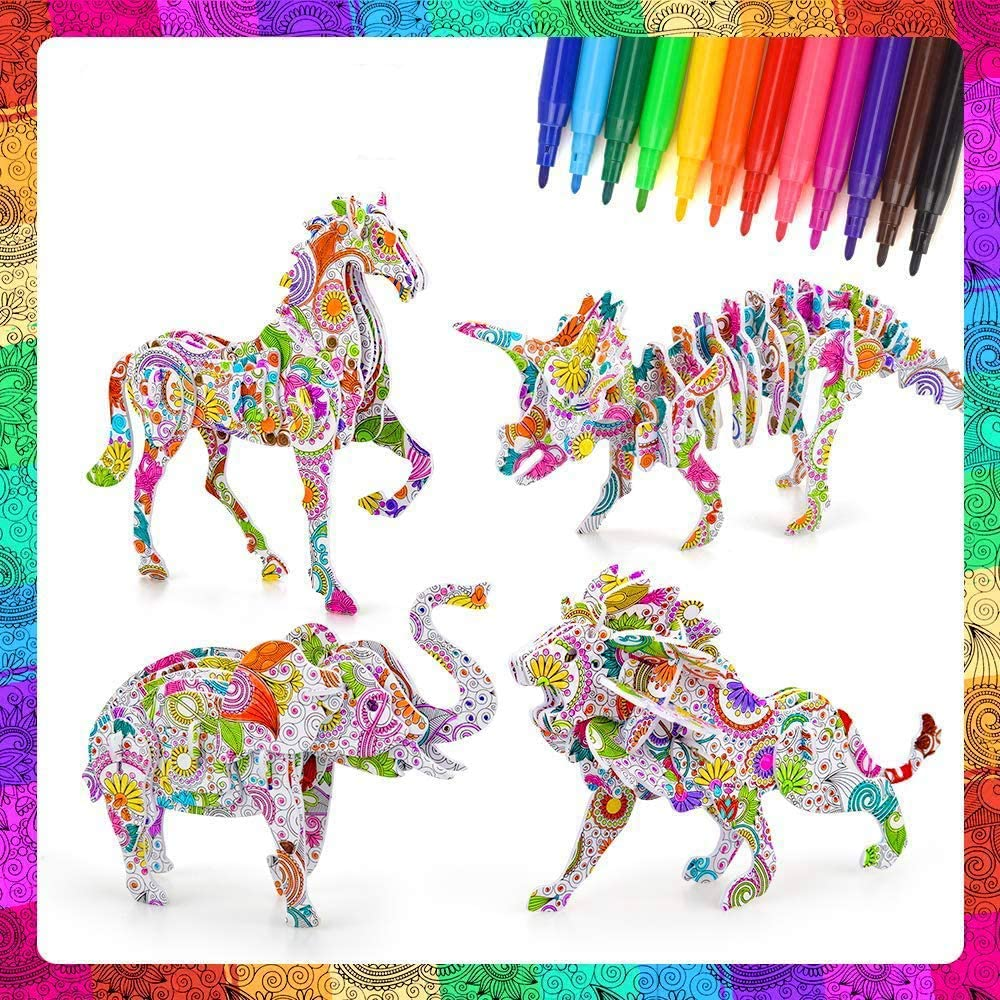 Uooker 3D Coloring Puzzle Art and Crafts Set with 4 Animals Puzzles with 12 Pen Markers Educational Painting Crafts Kit Fun Creative DIY Toys Gift for Girls and Boys