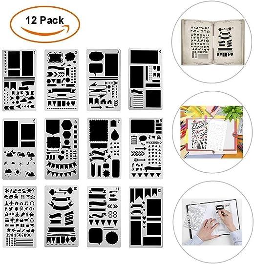 /áLbumes de Recortes 12 Piezas 10,2 X 17,8 CM Bullet Diario Stencil Set Pl/ástico Planificador Plantillas Para Diario Manualidades Etc . DIY Dibujo Plantilla Cuaderno