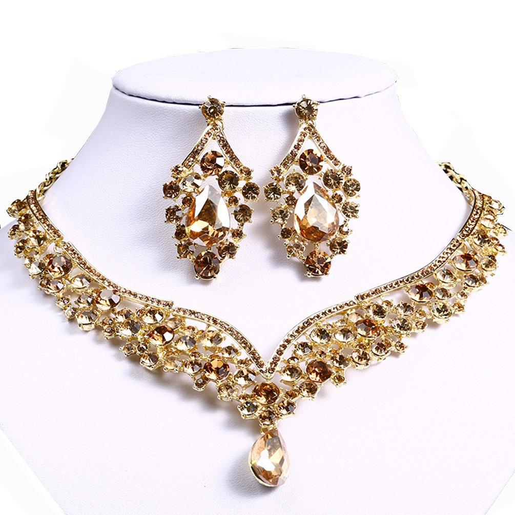 omylady Women's Wedding Bridal Party Rhinestone Necklace Dangle Earrings Sets Set Crystal Teardrop Statement Jewelry Set (Champagne)