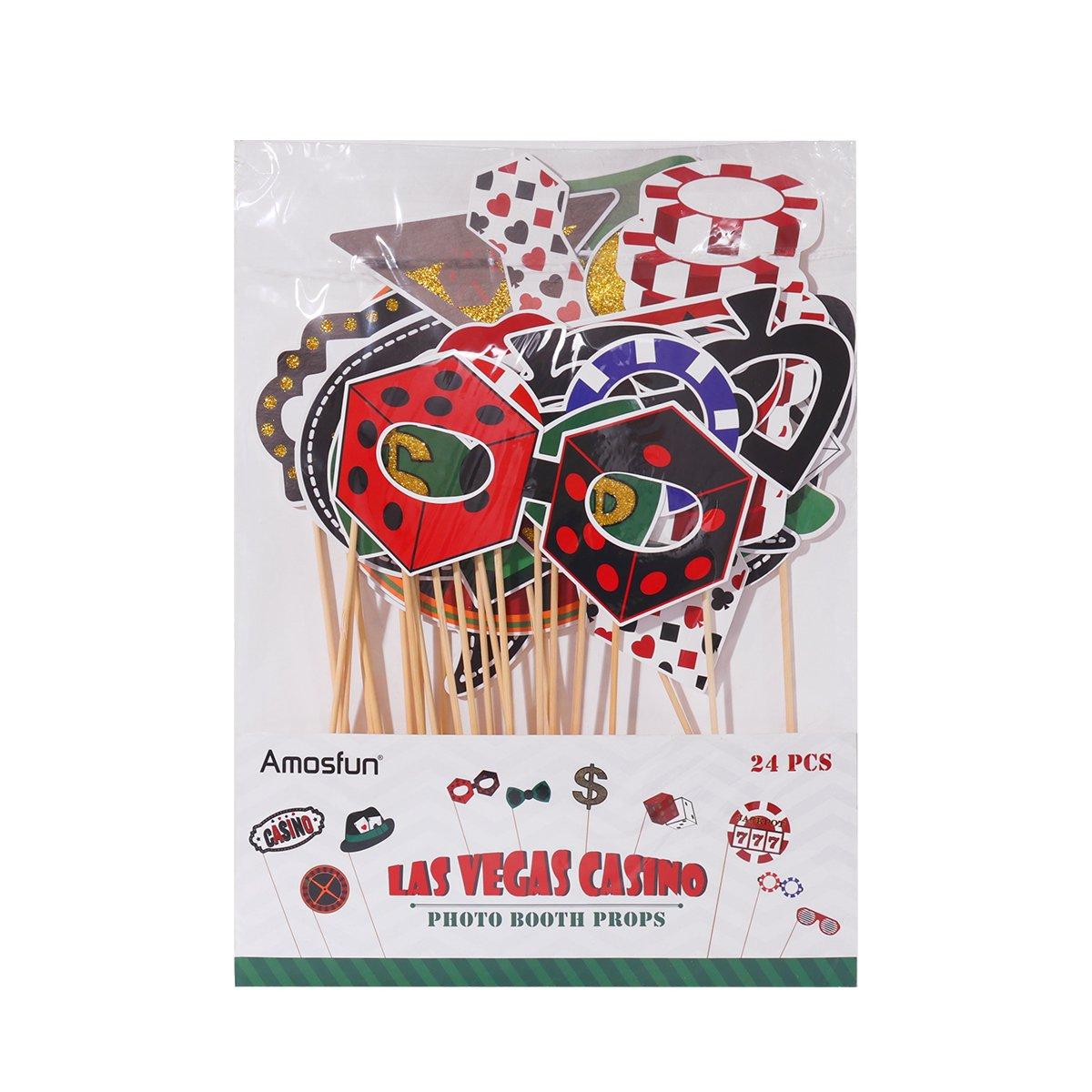 LUOEM Las Vegas Casino Photo Booth Props Kit 24Pcs Las Vegas Party Photo Booth Props with Wooden Sticks
