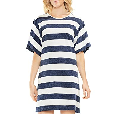 1cc6b8aad05 Two by Vince Camuto Womens Modern Bold Striped Linen T-Shirt Dress at  Amazon Women s Clothing store