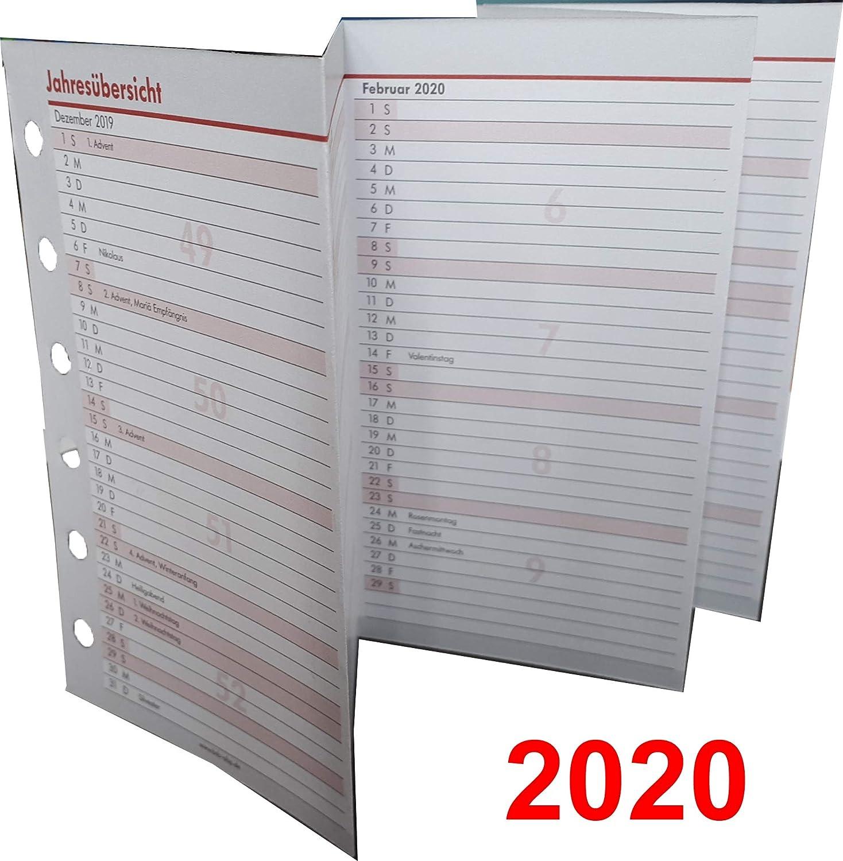 bsb Jahres/übersicht Leporello Faltung Standardlochung A6 Ersatzkalendarium Jahresplaner f/ür 2020
