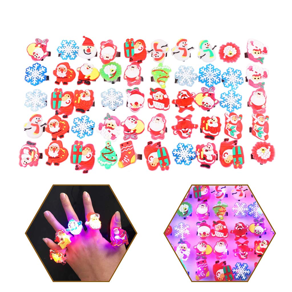 Tumao 50pcs Bagues Clignotantes-Lumineux bagues Noël avec Interrupteur réglable Convient aux Adultes et aux Enfants
