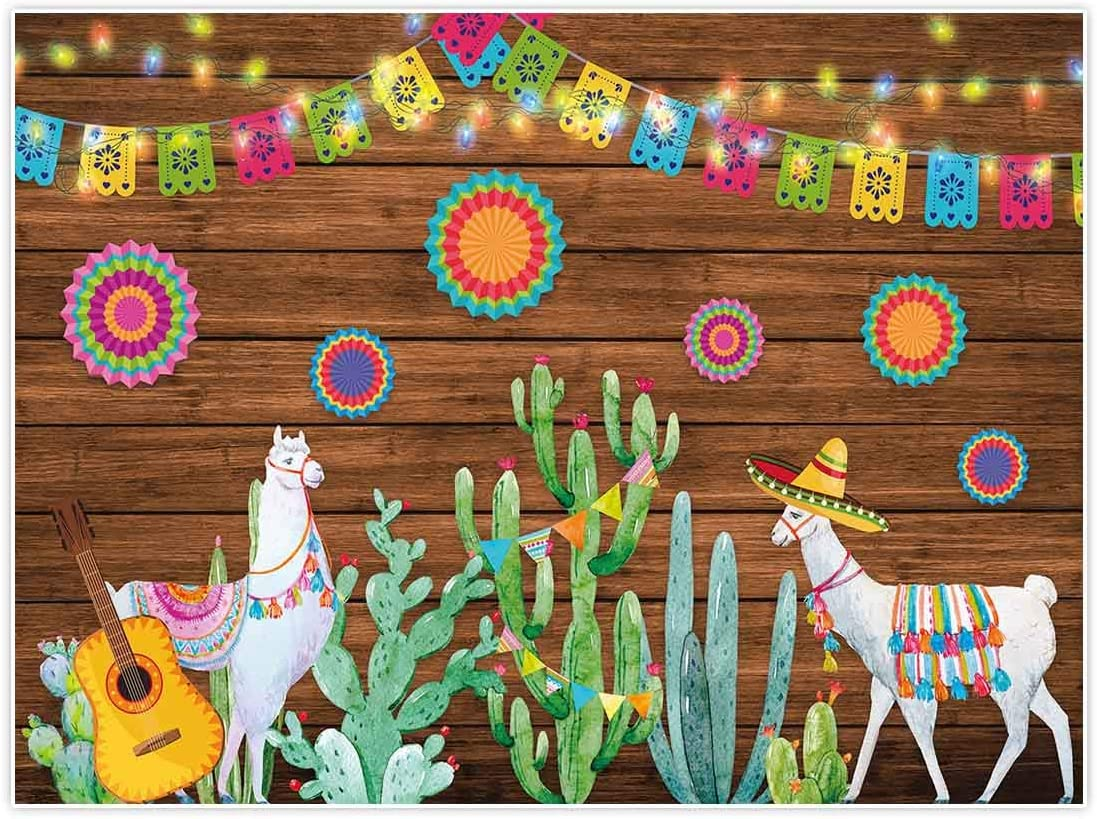 Allenjoy 8x6ft Soft Fabric Mexican Fiesta Theme Backdrop for Photography Summer Cinco De Mayo Birthday Party Decoration Cactus Mexico Wood Background Newborn Baby Shower Banner Photo Booth Shoot Props