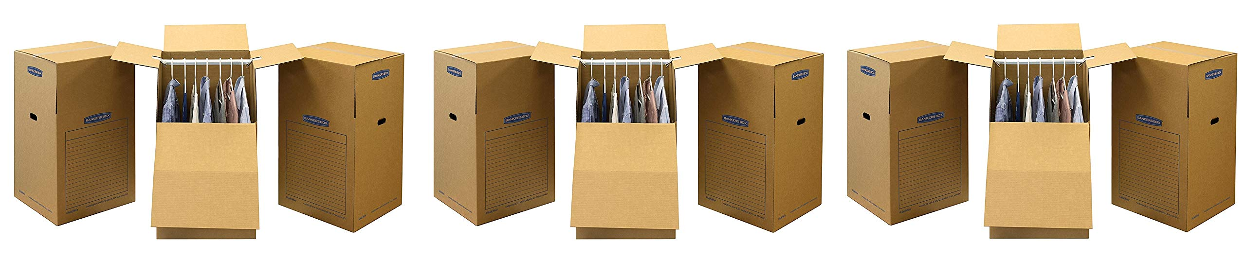 Bankers Box SmoothMove Wardrobe Moving Boxes, Tall, 24 x 24 x 40 Inches, (7711001) (3 X Pack of 3)
