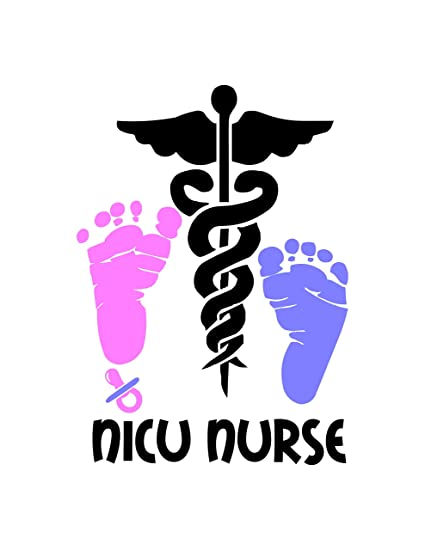 Amazon Nicu Nursing Decal Medical Symbol And Text Is White