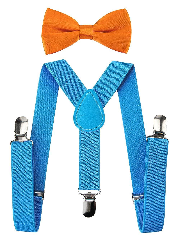axy Kinder Orange Hosentr/äger-Y Form mit Fliege 3 Clips EXTRA STARK