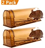 CaptSure Humane Smart Mouse Trap, Live Catch and Release Rodent Trap Cage Box, No Kill/Pain, Children & Pet Safe, For Indoor / Outdoor, Reusable, Small Rat/Mice Bait Catcher That Works (2 Pack)