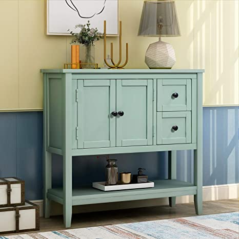 Amazon.com: Solid Wood Console Table with 2 Storage Drawers Modern