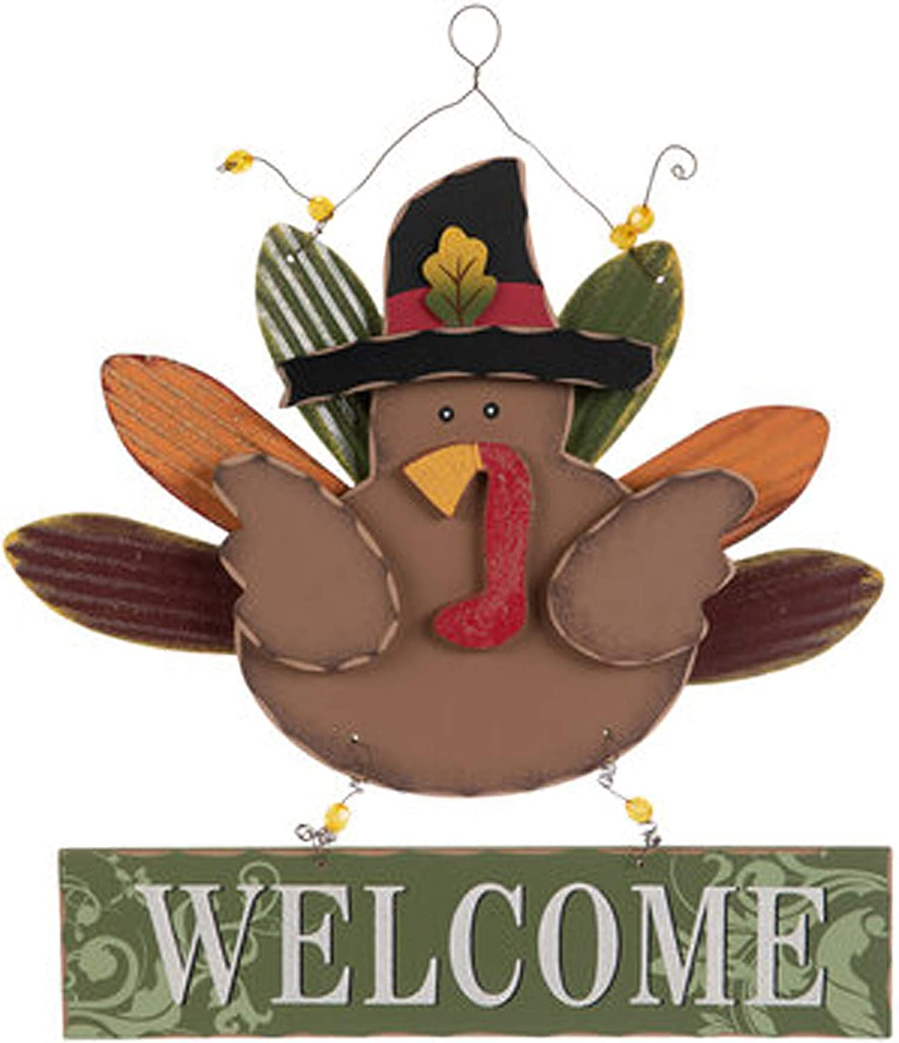 Welcome Turkey Wood Wall Decor with Metal Hanger for Thanksgiving Welcome Sign for your Home Decoration