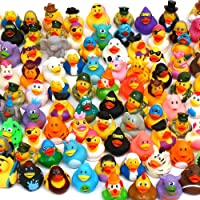 Pull Together 100 Pack Rubber Duck Bath Toy Assortment - Bulk Floater Duck for Kids - Baby Showers Accessories - Party Favors, Birthdays, Bath Time, and More (50 Varieties, Upgrade)