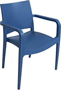 Sunnydaze Landon Plastic Patio Dining Armchair Seat - Modern Design - Deck, Lawn and Garden Seat - Indoor or Outdoor Use - Commercial Grade All-Weather - Sax Blue - 1 Chair