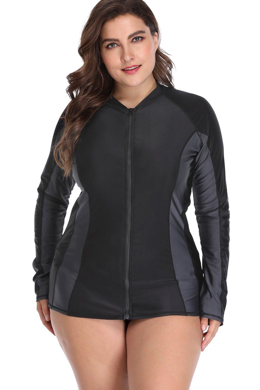 Sociala Zip Rashguard for Women Plus Size Long Sleeve Rash Guard Swim Shirt 2X