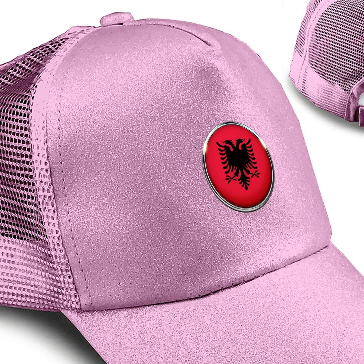 Albania Ponytail Messy High Bun Hat Ponycaps Baseball Cap Adjustable Trucker Cap Mesh Cap