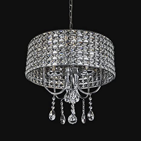 Emliviar Modern 5-Light Chrome Round Metal Shade Crystal Chandelier ...