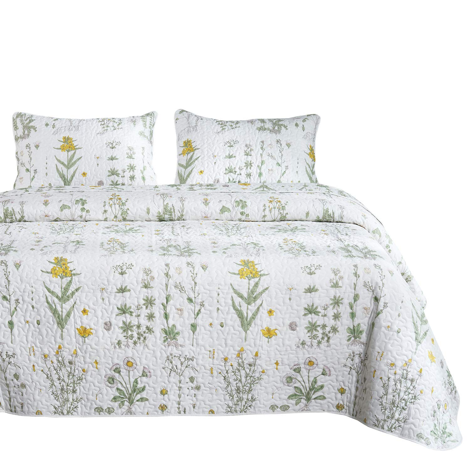 Wake In Cloud - Botanical Quilt Set, Yellow Flowers Green Leaves Floral Pattern Printed on White, 100% Cotton Fabric with Soft Microfiber Inner Fill Bedspread Coverlet Bedding (3pcs, Queen Size)