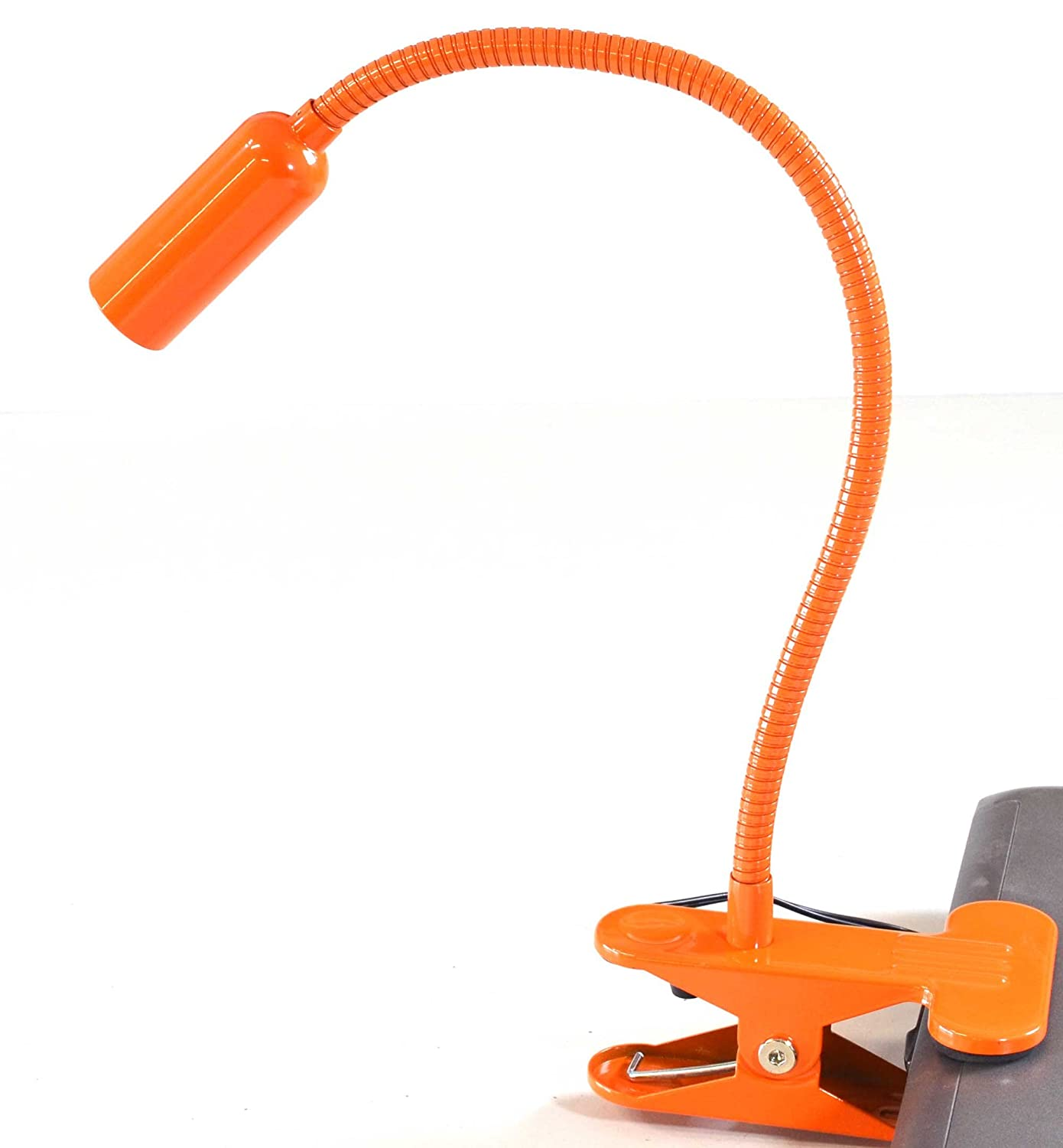 Easy Home Orange Swan Neck Flexible Daylight LED Spot Clamp Clip Lamp Mains Powered Aldi
