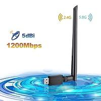 Wlan Adapter,LINGwell USB Wlan Stick 1200Mbit/s mit 5dBi Antenna (5.8G/867Mbps + 2.4G/300Mbps) AC Dualband Wireless Adapter , Wifi Dongle 802.11 ac/n/g/b/a Wireless Standards, Wlan Empfänger 3.0 für Windows 10/8.1/8/7/VISTA, Mac OS X, Linux PC/Desktop/Laptop