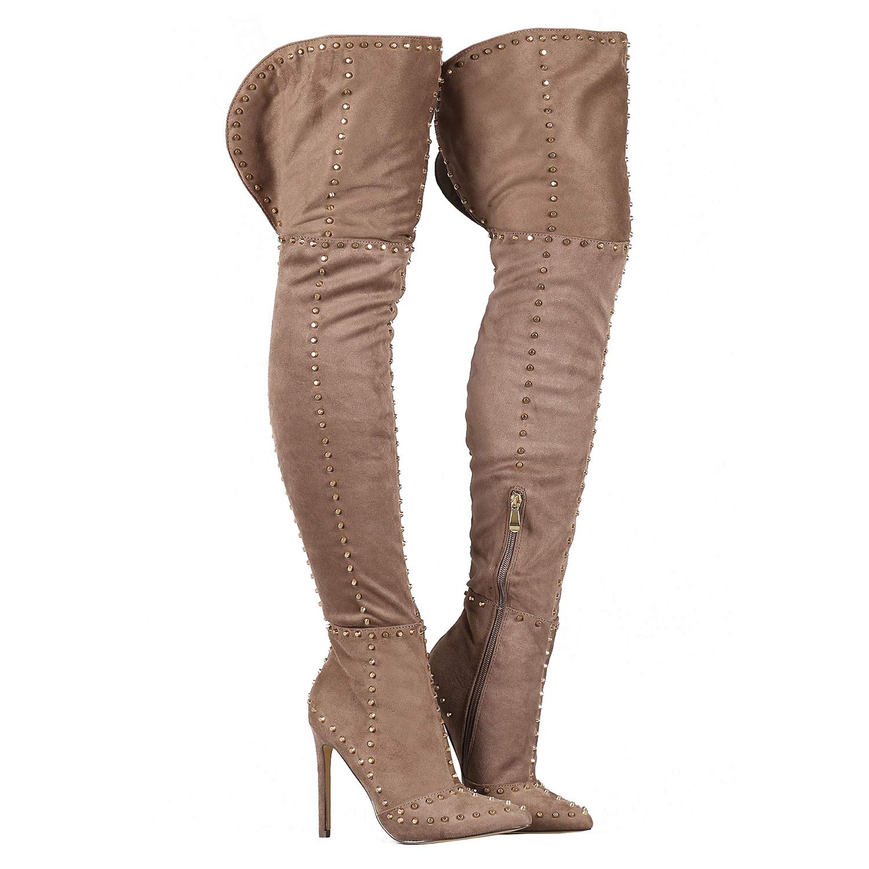 RF ROOM OF FASHION Women/'s Vegan High Heel Side Zipper Thigh High Over The Knee Boots