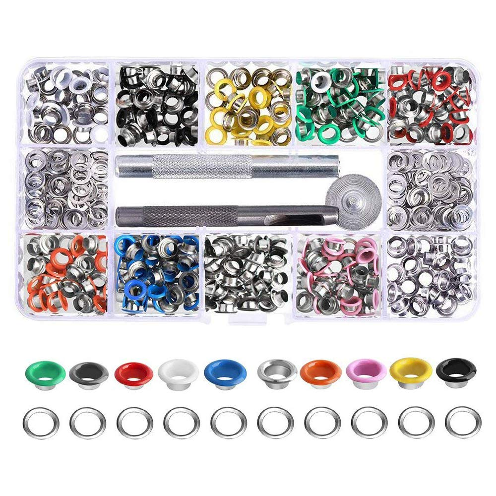 Bestgle 300 Sets Metal Grommet Eyelets Kit with 3 Pieces Grommets Setting Tools for Shoes Clothes Bags Leather Craft and Canvas DIY Projects (6mm Inside Diameter, 10 Colors)