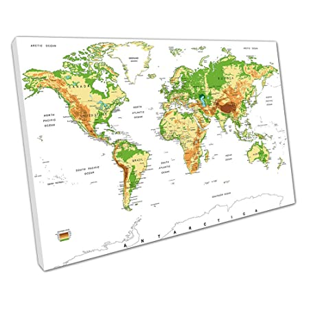 Print on Canvas world map cities countries oceans Size=91 x 61 x ...