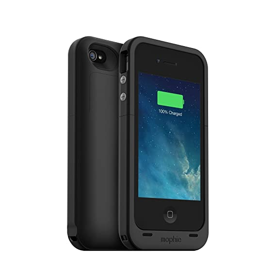 best service 90731 b9c3a Mophie Juice Pack Plus Case and Rechargeable Battery for iPhone 4 & 4S -  Black (Renewed)