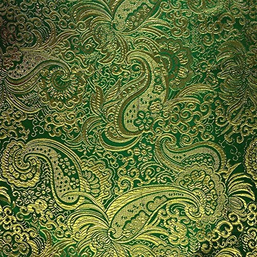 (Metallic Paisley Brocade Fabric 60