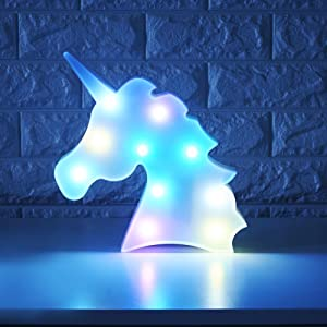 WHATOOK Colorful Unicorn Light,Changeable Night Lights Battery Operated Decorative Marquee Signs Rainbow LED Lamp Wall Decoration for Living Room,Bedroom,Home, Christmas Kids Toys