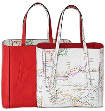 Subway Map Nyc Red Line.Amazon Com Nyc Subway Map Reversible Tote Red White Nyc Subway