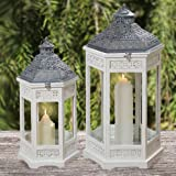 The Key West Tall Hurricane Lanterns, Set of 2, Rustic White Wood, Gray Pantina Metal Work, Vintage Temple Style, Top Opening, Glass Panels, 31 1/4 and 24 3/4 Inches, By Whole House Worlds