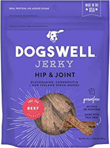 DOGSWELL Hip and Joint Beef Jerky Dog Grain Free Treats 10oz Made in USA (1 Bag)