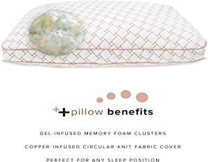 SensorPEDIC Gel-Infused Memory Foam Cluster Jumbo Bed Pillow with Copper-Infused Cover, White (91009)