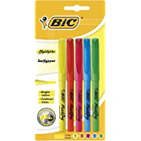 BIC Highlighter Fluorescent Pens - Assorted Colours, Pack of 5 Highlighters