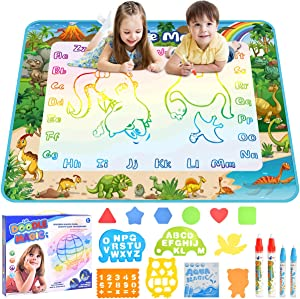 mixi Aqua Magic Doodle Mat Extra Large Dinosaurs Water Drawing Mat Educational Kids Toys for 2 3 4 5 6 Year Old Boys Girls Gifts 40 X 32 Inches