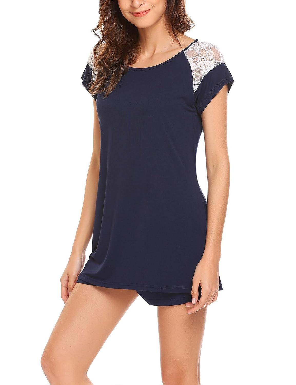 ADOME Mujer Conjunto de Pijama Manga Corta Encaje y Pantalón Corto Algodón Modal Ropa de Dormir: Amazon.es: Ropa y accesorios