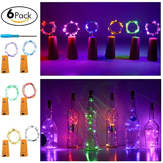 new product 30a4a 0f25d LED Wine Bottle Light Cork HUIXIANG Bottle Stopper Fairy Light Battery  Powered Cork String Lights 1m Copper Wire 20 Micro Rice Lights (6 Pack  include ...