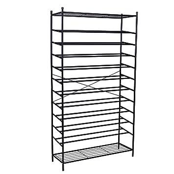 Songmics XXL 12 Tier Metal Shoe Rack Storage Organiser Stand Display Racks  For About 70 Pairs