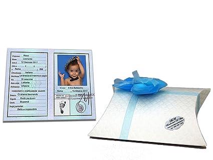 Bomboniere Di Carta Battesimo : Bomboniere battesimo carta d identita in legno cm con