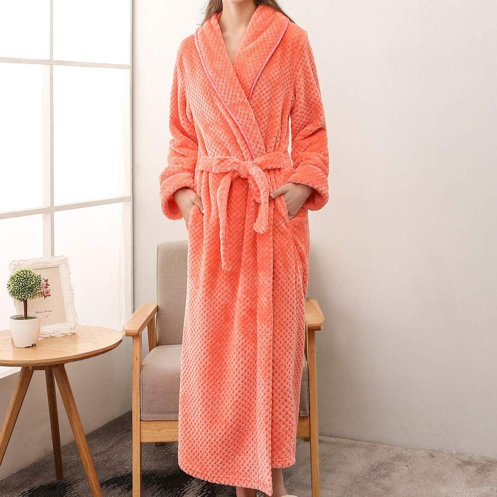 HDGTSA Womens Bathrobes Plush Lengthened Shawl Pajamas Long Sleeved Robe Coat