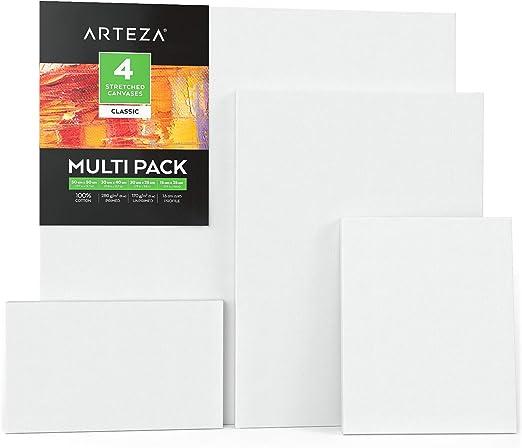 Arteza Lienzos para pintar cuadros | 50x50, 30x40, 20x25 y 25x15 cm | Pack de 4 lienzos variados | 100% algodón | Imprimación sin ácidos | para profesionales, aficionados y principiantes: Amazon.es: Hogar